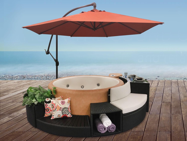 5 Piece Rattan Surround with Spa Side Umbrella